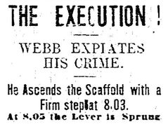 A headline from the Brandon Sun at the time of the Webb hanging.