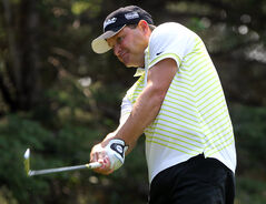 Defending Tamarack champion Jarod Crane of Brandon chips on Tuesday.