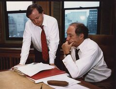 Jim Coutts and Pierre Trudeau go over notes in a 1981 file photo. Liberal leader Justin Trudeau says Coutts, a former adviser to prime ministers Lester Pearson and Pierre Trudeau, has died at age 75. THE CANADIAN PRESS/CP