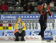 Manitoba skip Jennifer Jones, left, and Team Ontario skip Rachel Homan, wait to start the ninth end during draw twelve this morning at the Scotties Tournament of Hearts.
