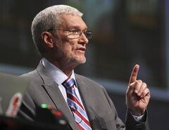 Creation Museum head Ken Ham speaks during a debate on evolution with TV's
