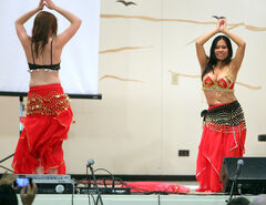 Belly dancers with the Peruvian contingent perform at the Global Village pavilion at St. Matthew's Cathedral Church  during the Lieutenant Governor's Winter Festival on Friday evening.