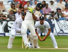 India's Ravindra Jadeja plays a shot, during day five of the first Test between England and India at Trent Bridge cricket ground, Nottingham, England, Sunday, July 13, 2014. (AP Photo/Rui Vieira)