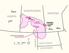 This map shows potash reserves in Saskatchewan and Manitoba, as well as existing mines in Saskatchewan.