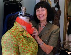 Fashion designer Pat McDonagh at work in Toronto Thursday Sept. 7, 2000. THE CANADIAN PRESS/Tannis Toohey
