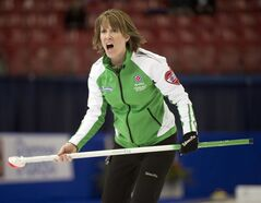 Saskatchewan skip Stefanie Lawton calls a shot during her match against Quebec at the Scotties Tournament of Hearts draw eight curling action Tuesday, February 4, 2014 in Montreal. THE CANADIAN PRESS/Ryan Remiorz