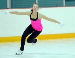 Brandon's Madison McCallum practises Monday at the Kinsmen Arena.