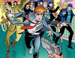 This image provided by Archie Comics shows Archie in his final moments of life in the comic book,