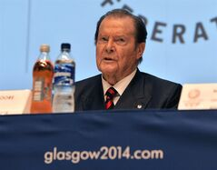 UNICEF ambassador and former actor Roger Moore speaks, during a press conference ahead of the Commonwealth Games 2014, in Glasgow, Scotland, Tuesday July 22, 2014. The opening ceremony of the Commonwealth Games commences on Wednesday. (AP Photo/PA, John Giles) UNITED KINGDOM OUT NO SALES NO ARCHIVE
