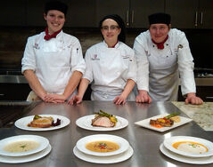 Hamiota's Jill Kerr, Minnedosa's Whitney Glasgow and Brandon's Nick Ewasiuk competed in the Manitoba Pork Black Box Competition at Assiniboine Community College on Tuesday. The three first-year students were judged in a series of areas including taste, plating and creativity. Glasgow finished in first place, earning the $800 top prize.