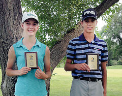 Erickson's Bobbi Uhl (left) and Glenboro's Zach Wytinck.