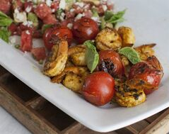 This July 21, 2014 photo shows curried shrimp salad in Concord, N.H. The side dish can act as a compliment to a grilled main course for Labor Day. (AP Photo/Matthew Mead)