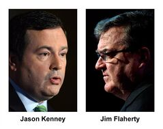 Jason Kenney and Jim Flaherty are shown in file photos. THE CANADIAN PRESS/files