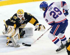 Wheat Kings netminder Jordan Papirny stones Pats forward Dryden Hunt Wednesday night at Westman Place.