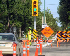 Victoria Avenue at 18th Street is blocked to traffic as work continues on repairs to the main thoroughfare on Wednesday afternoon.