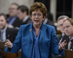 Human Resources Minister Diane Finley rises during Question Period in the House of Commons on Parliament Hill in Ottawa, Monday, Feb.25, 2013. THE CANADIAN PRESS/Adrian Wyld