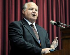 "FILE - This May 14, 2012 file photo shows conservative commentator Rush Limbaugh speaking during a ceremony inducting him into the Hall of Famous Missourians in the state Capitol in Jefferson City, Mo. On Wednesday, May 14, 2014, Limbaugh won the Children's Choice Book Award for author of the year for his best-selling ""Rush Revere and the Brave Pilgrims."