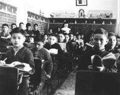 Students in class at St. Joseph's Residential School in Cross Lake in 1951.