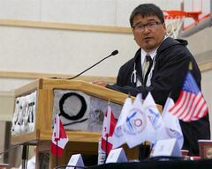 Duane Smith, recently elected to his fourth term as president of the Inuit Circumpolar Council, addresses delegates at the council's meeting in Inuvik, N.W.T., on Monday, July 21, 2014. THE CANADIAN PRESS/HO - ICC, Zoe Ho