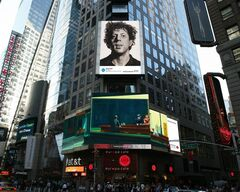 This artist's rendering provided by Art Everywhere U shows, a display in New York's Times Square features Chuck Close's