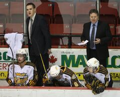 Kelly McCrimmon or assistant Dwayne Gylywoychuk (left) may coach the Wheat Kings.