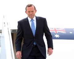 Australian Prime Minister Tony Abbott arrives at the MacDonald-Cartier International Airport in Ottawa, Sunday June 8, 2014. THE CANADIAN PRESS/Fred Chartrand