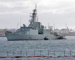HMCS Iroquois arrives in Halifax on Oct. 23, 2008. The Royal Canadian Navy has lost the use of one of its warships on the East Coast after rust was found in its hull. THE CANADIAN PRESS/Andrew Vaughan
