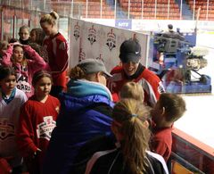 Cassie Campbell-Pascall and Sami Jo Small sign autographs on Monday at the Scotiabank Girls HockeyFest at Westman Place.