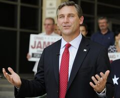 FILE - In this May 24, 2012 file photo, Texas Republican candidate for the U.S. Senate Craig James gestures during a press conference in Houston. James says Fox Sports hit him with a