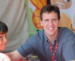 FILE - This April 21, 2012 file photo shows Jeff Kinney at the LA Times Festival of Books in Los Angeles. Kinney announced Friday, May 30, 2014 that he and his wife were converting an abandoned general store into a bookshop. The store will be based in Plainville, Mass., where Kinney and his wife live. (AP Photo/Katy Winn, File)