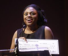 This June 30, 2014 photo released by the National High School Musical Theater Award shows Jai'len Josey, of Atlanta, who was named best actress at the sixth annual National High School Musical Theater Awards (nicknamed the Jimmy Awards after James Nederlander) at the Minskoff Theatre in New York. (AP Photo/National High School Musical Theater Award, Henry McGee)