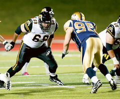 Brandonite Landon Rice (69) is slated to start at left guard for the Hamilton Tiger-Cats tonight.
