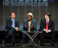 FILE - In this July 29, 2013 file photo, from left, executive producer Neal Kendall, host/executive producer Arsenio Hall and executive producer John Ferriter participate in the