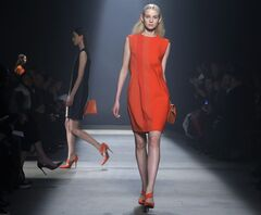 Models walk the runway during the showing of the Narciso Rodriguez Fall 2014 collection at Fashion Week in New York, Tuesday, Feb. 11, 2014. (AP Photo/Kathy Willens)