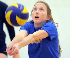 First-year libero Kendra Bommersbach passes the ball during the Brandon University Bobcats women's volleyball team practice on Thursday at the Healthy Living Centre. The 18-year-old has stepped right into the Bobcats' lineup as a starter.