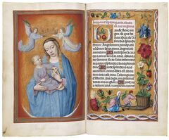 This undated photo provided by Christie's shows pages from a lavishly illustrated prayerbook that is considered to be one of the highest achievements of Flemish Renaissance painting. Known as the Rothschild Prayerbook, it is slated to be sold at Christie's New York on Wednesday, Jan. 29, 2014 for an estimated $12 million to $18 million. (AP Photo/Christie's)