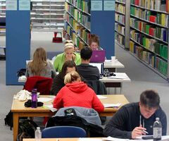 Students study for exams at the John E. Robbins Library at Brandon University earlier this week.