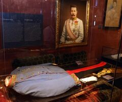 The blood soaked uniform jacket worn by Austrian Archduke Franz Ferdinand when he was shot to death in Sarajevo is on display at the Museum of Military History in Vienna, Austria, on Friday, June 27, 2014. Franz Ferdinand and his wife Sophie were assassinated in Sarajevo on June 28, 1914, and event which eventually led to the outbreak of World War I. (AP Photo/Ronald Zak)