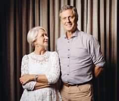 In this Saturday, July 12, 2014 photo, Helen Mirren, left, and director Lasse Halstrom pose for a portrait during press day for