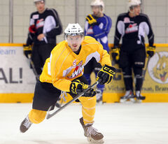 Brandon Wheat Kings' Jayce Hawryluk speeds across the ice during practice at the Sportsplex on Monday. The Wheat Kings take on the Edmonton Oil Kings in Game 3 in their second-round playoff series tonight at Westman Place.