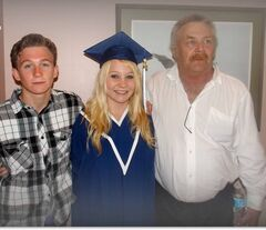 Trent Hatch (right) pictured in 2014 with his son Brayden and daughter Skye at her high school graduation.