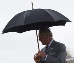 Prince Charles and his wife Camilla, the Duchess of Cornwall, arrive in the rain at a Canadian Forces Base airport in Winnipeg Tuesday May 20, 2014. THE CANADIAN PRESS/David Lipnowski