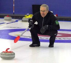 Doug Armour calls for a takeout during the final of the Westoba Credit Union Masters' Super League of Curling on Thursday at the Brandon Curling Club. Armour skipped Ken Sabad's Souris team to the title as they knocked off Bert Peaslee of Souris 7-4.