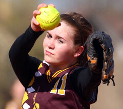 Crocus Plainsmen pitcher Delaney Lang winds up for a pitch in Tuesday afternoon's Brandon High School Girls Fastball League game against the Neelin Spartans.