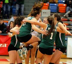 The Neelin Spartans were jumping for joy after winning the provincial AAAA varsity girls' high school volleyball title.