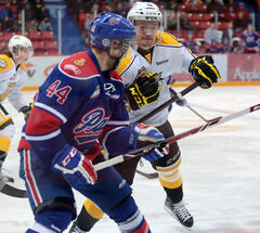 Wheat Kings forward Rihards Bukarts hits Pats defenceman Jesse Zgraggen.
