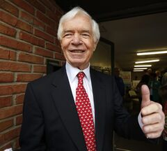 U.S. Sen. Thad Cochran, R-Miss., greets supporters and volunteers at his Canton, Miss., headquarters, Tuesday, June 24, 2014. Cochran is in the Republican primary runoff election against state Sen. Chris McDaniel on Tuesday. (AP Photo/Rogelio V. Solis)