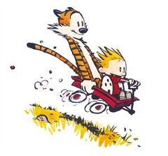 Calvin and Hobbes are pictured in a handout photo. Artwork from
