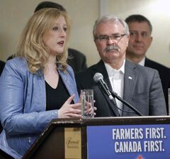 Lisa Raitt, Minister of Transport, and Gerry Ritz, Minister of Agriculture and Agri-Food, at Canada's grain transportation announcement in Winnipeg Friday morning.