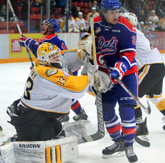 Regina Pats rookie forward Rylee Zimmer of Russell screens Brandon Wheat Kings goaltender Jordan Papirny in a WHL game at Westman Place earlier this season.